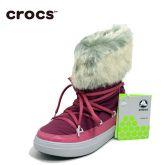 Crocs卡骆驰女鞋 时尚保暖秋冬休闲厚底系带洛基雪地短靴|203423
