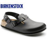 经典热销Birkenstock专业防滑工作包头鞋/厨师鞋Tokio光滑真皮黑色/白色