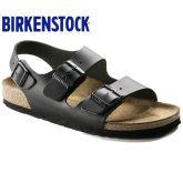 德国制造Birkenstock天然牛皮/光滑真皮休闲凉鞋经典Milano系列流行色